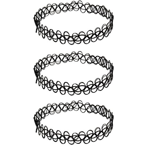 Beyond Dreams® 3 x Henna Tattoo Halskette schwarz | Stretch Schmuck | Henna Vintage