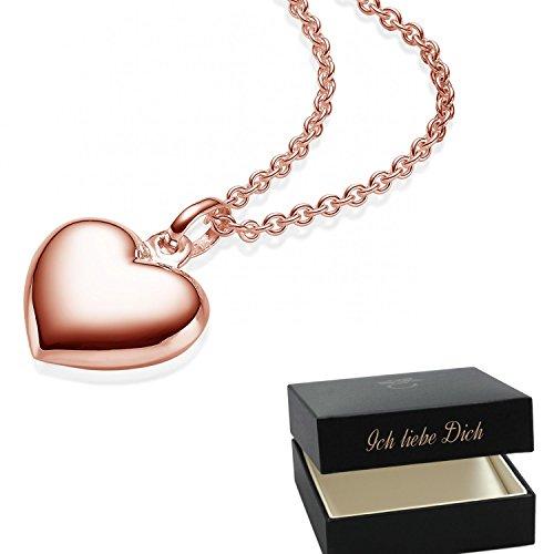 Herzkette  Silber 925 hochwertig vergoldet  +GRATIS Etui Echt Herzanhänger  Herzchenkette Halskette Herz Frau f27e65829f